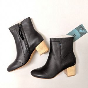 TOMS Black Leather Evie Bootie